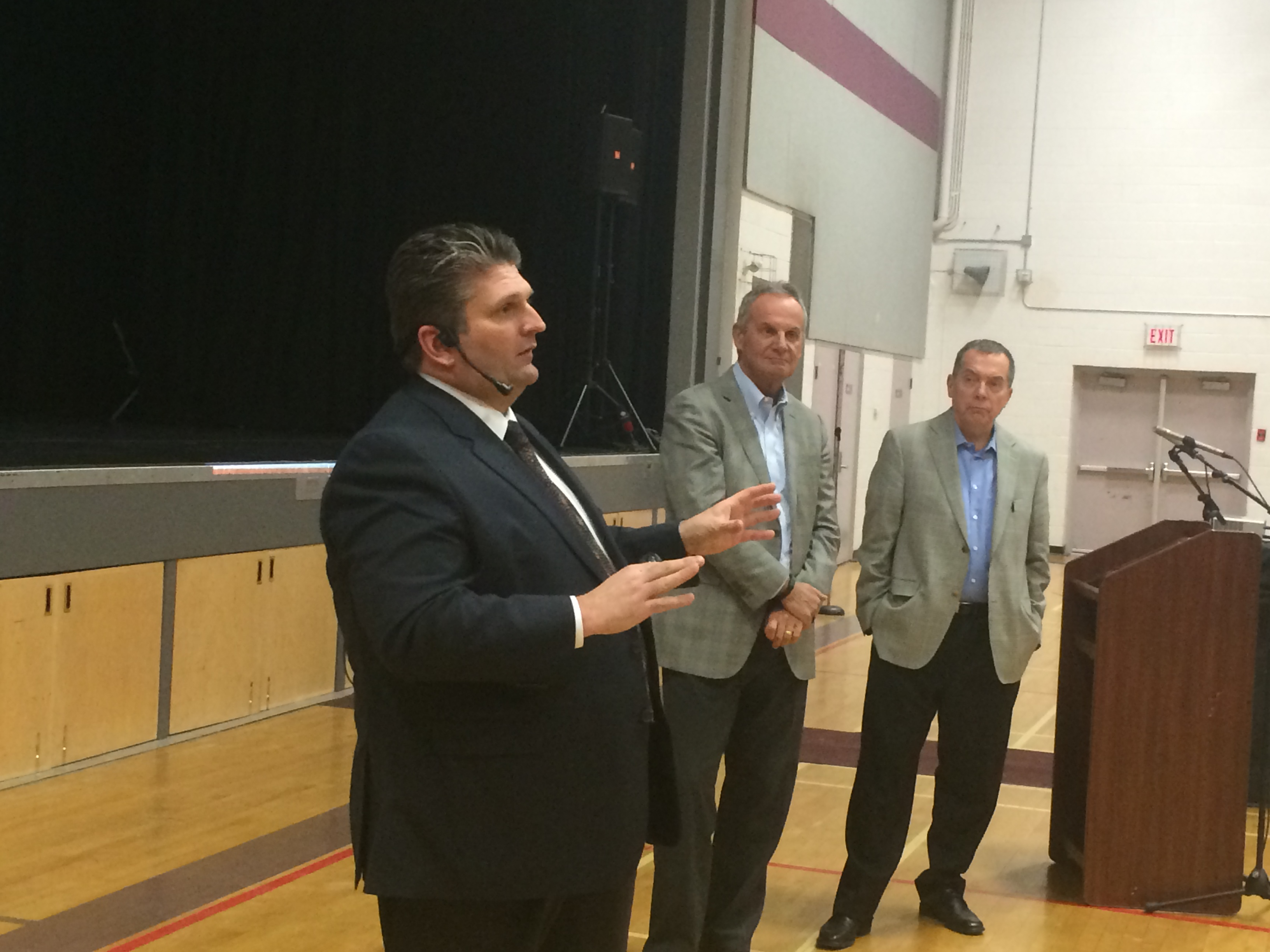 David Musyj (L), Gary Switzer (C) and Dave Cooke (R) host an information meeting on a new mega-hospital for WIndsor-Essex at Migration Hall in Kingsville on February 10, 2015. (Photo by Ricardo Veneza)