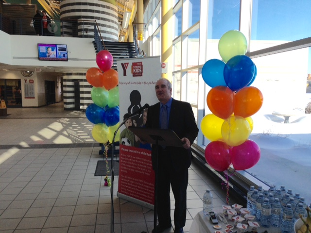 YMCA President and CEO Jim Janzen speaks at Strong Kids Campaign launch. (BlackburnNews.com photo by Melanie Irwin)