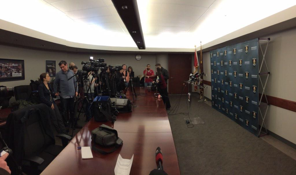 Media wait for Cassandra Kaake murder news conference to begin at Windsor police headquarters - February 5, 2015 (Photo by Jason Viau)