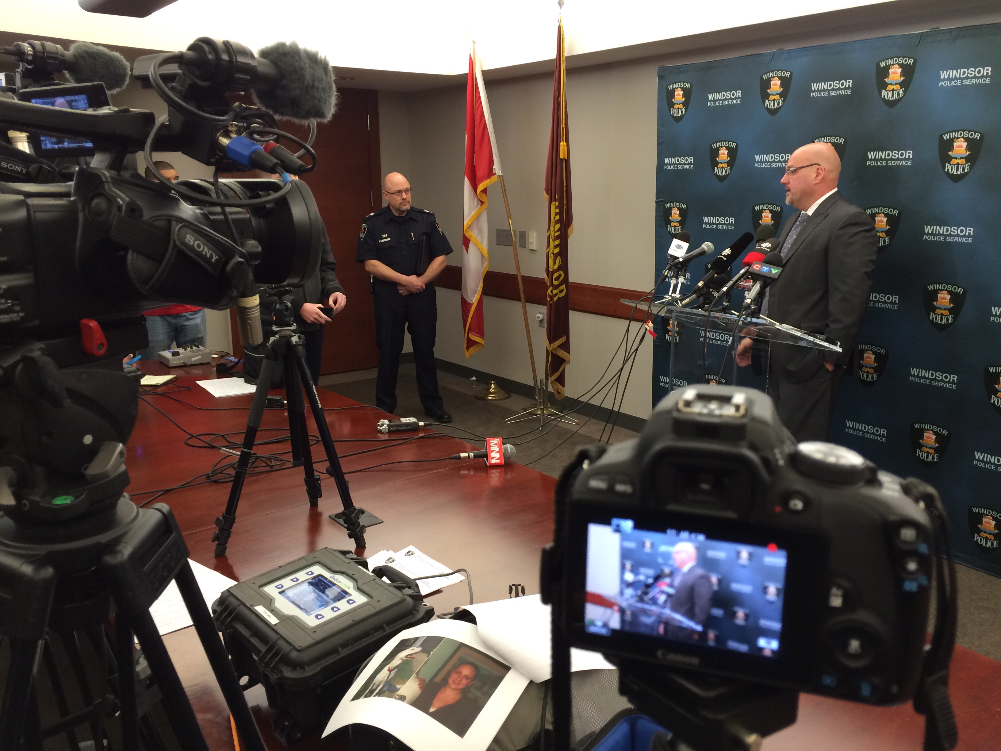 Windsor police hold a news conference on February 5, 2015 about the arrest made in the murder of Cassandra Kaake. (Photo by Jason Viau)