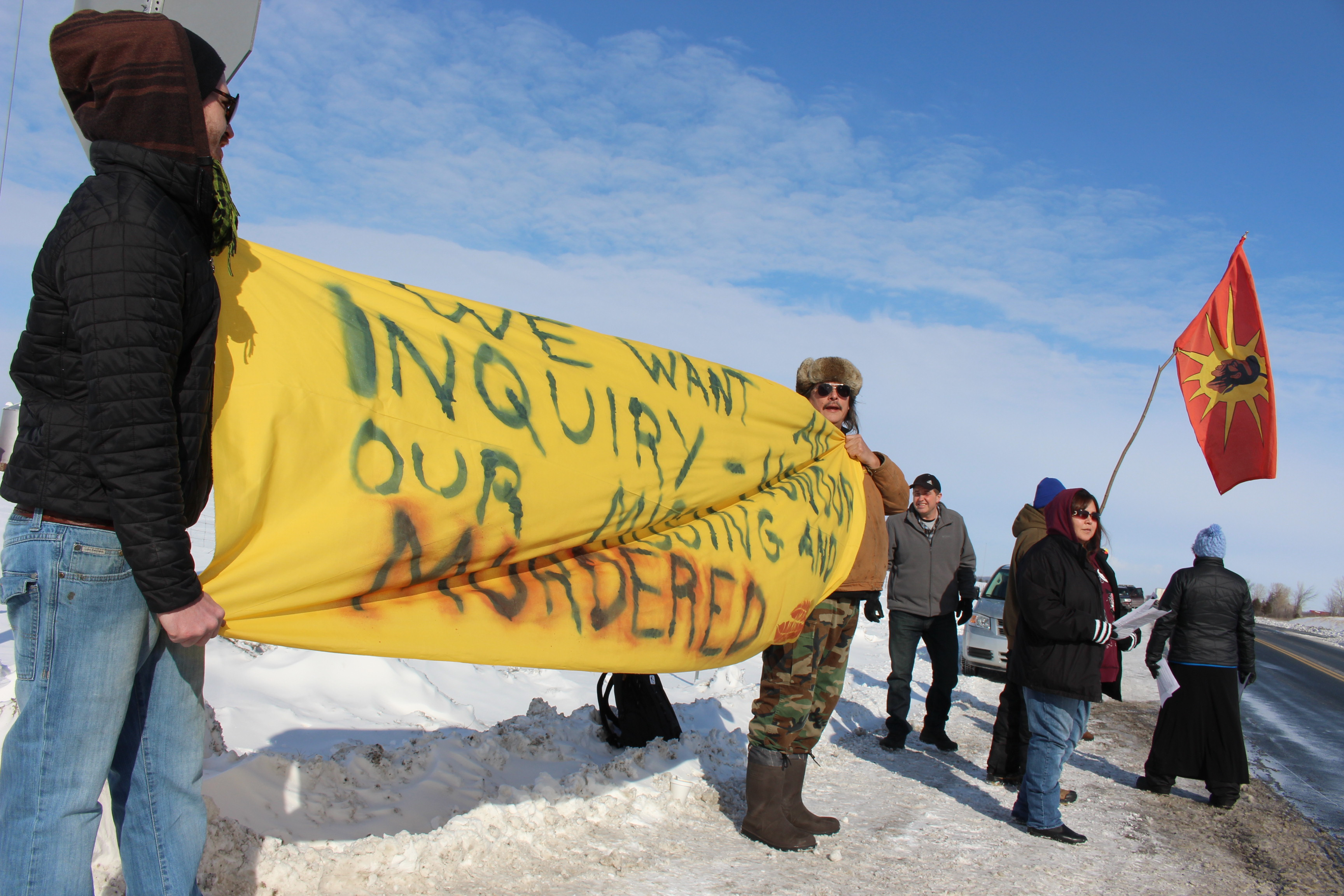 Walpole Island residents join the nationwide #ShutDownCanada movement at the intersection of Hwy. 40 and Dufferin Ave. on February 13, 2015. (Photo by Jason Viau)