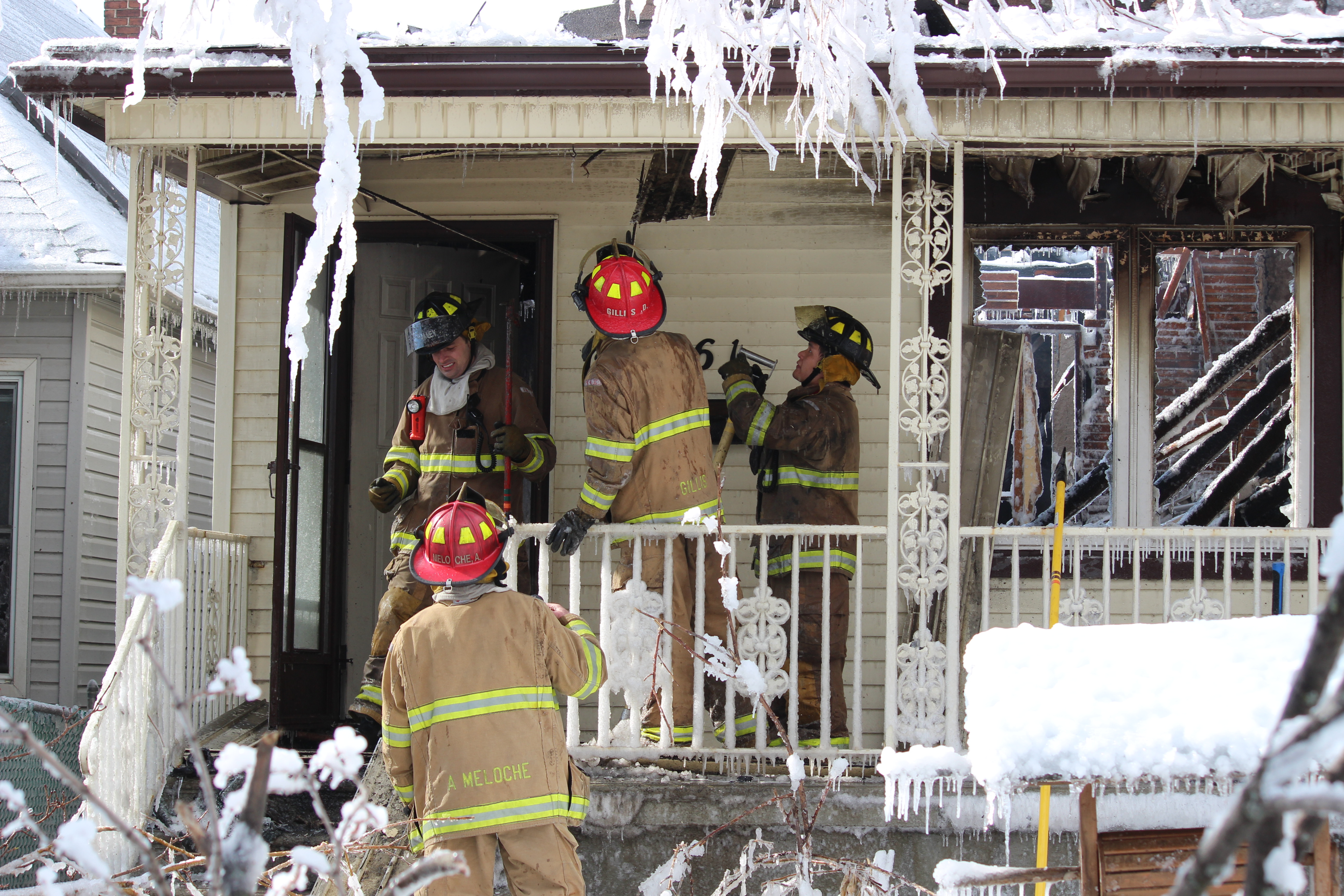 Windsor firefighters respond to a blaze at 761 Windsor Ave. on February 18, 2015. (Photo by Jason Viau)