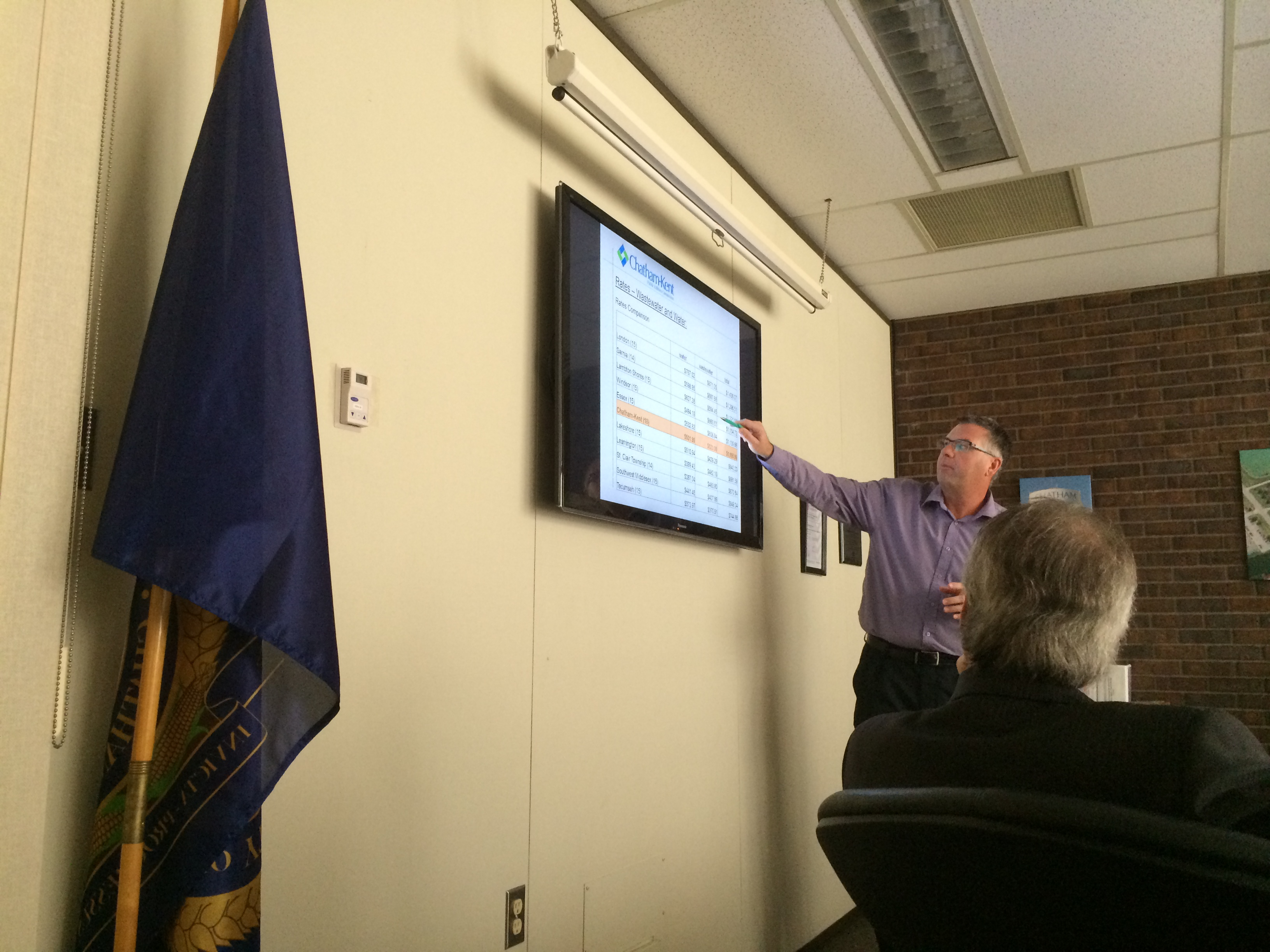 The Chatham-Kent Public Utilities Commission General Manager Tom Kissner points to a chart during a presentation at a meeting on February 12, 2015 in Chatham. (Photo by Ricardo Veneza)