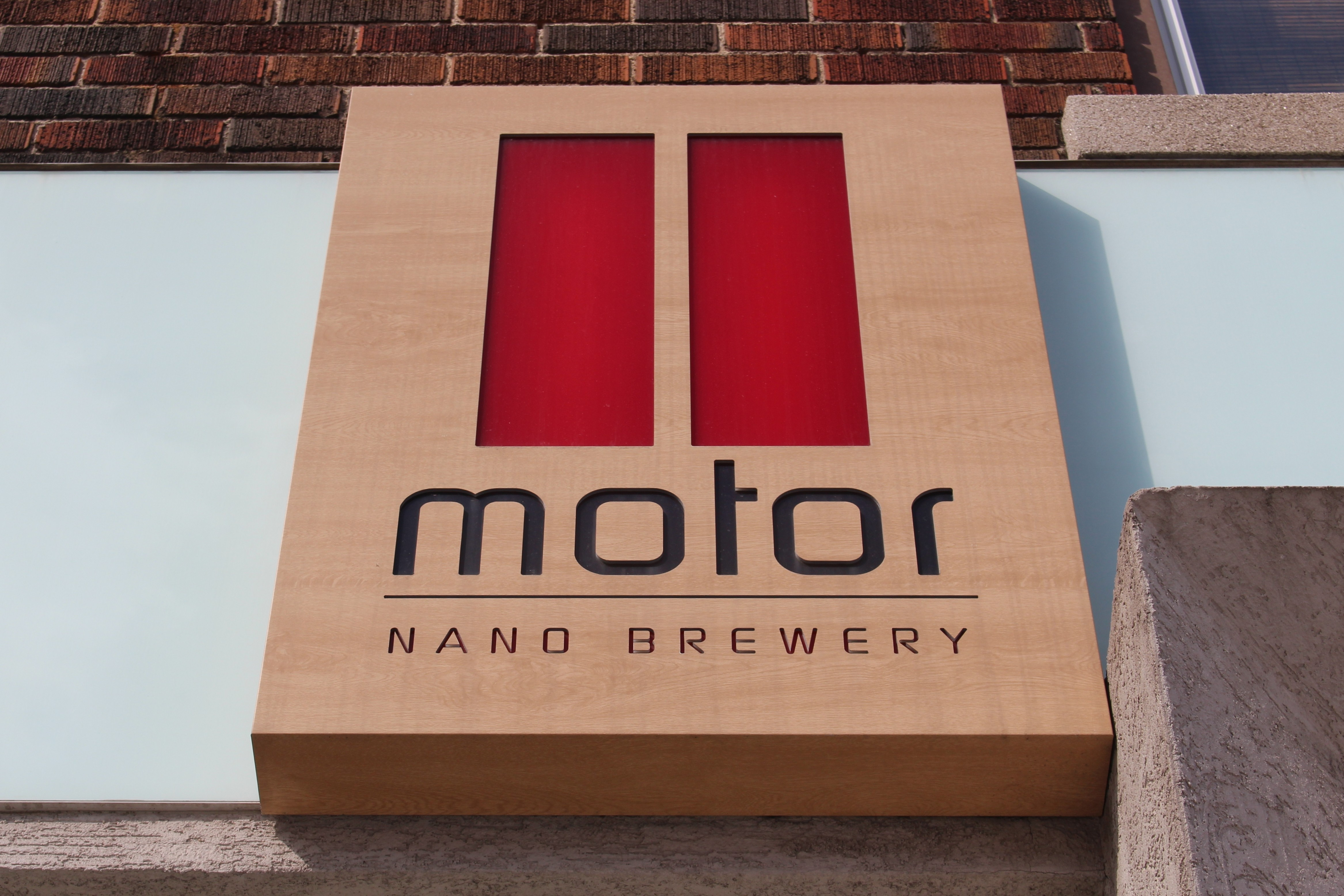Motor Craft Ales sign on Erie St. in Windsor, February 2015. (Photo by Mike Vlasveld)