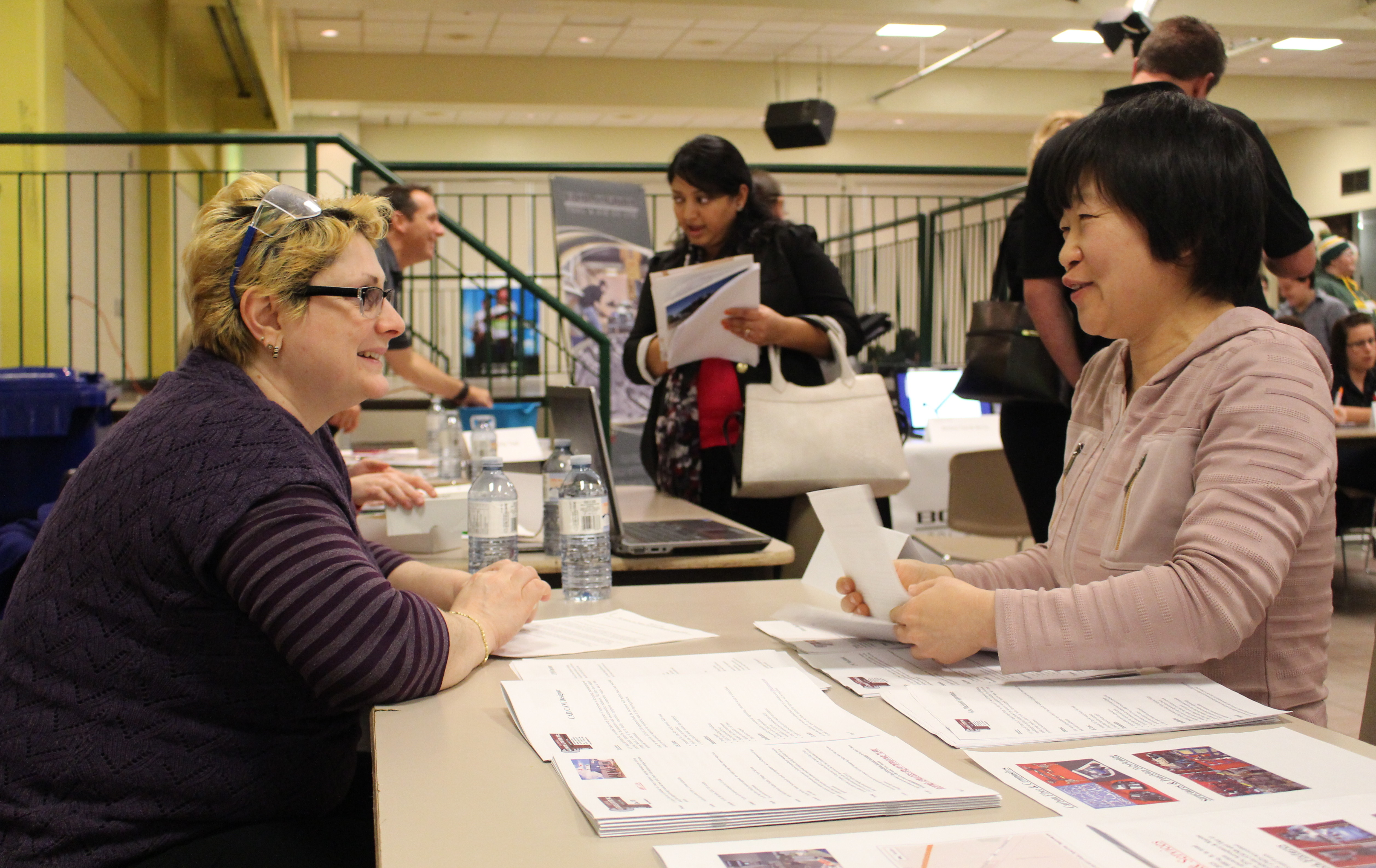 St. Clair College Industrial Mechanics students sit down with employers during a skilled trades job fair at the schools main campus, February 18, 2015. (Photo by Mike Vlasveld)