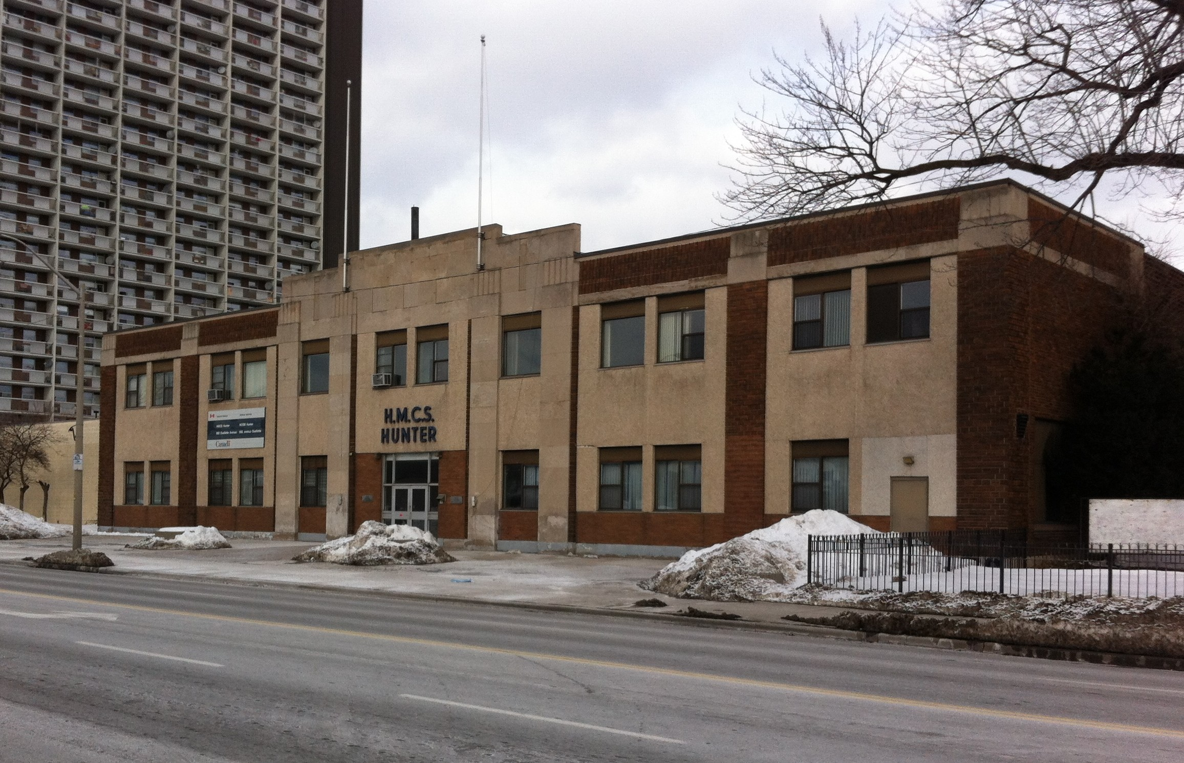 The former HMCS Hunter Naval Reserve Division building at 960 Ouellette Ave. in Windsor., February 13, 2015. (Photo by Mike Vlasveld)