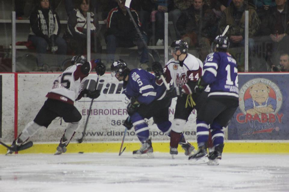 The Chatham Maroons battle the London Nationals, March 6, 2015. (Photo courtesy of Jocelyn McLaughlin)
