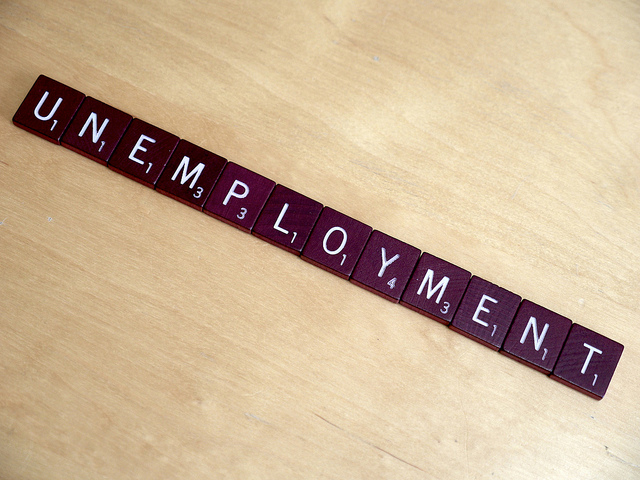 Unemployment spelled in Scrabble letters