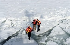 The coast guard rescues a man attempting to walk across Lake St. Clair on March 5, 2015. (Photo courtesy U.S. Coast Guard/Lt. Josh Zike)