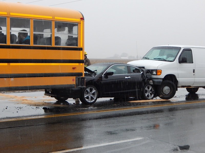 School bus involved in a crash on St. Clair St. in Chatham Mar 26 2015 (Photo by Simon Crouch)