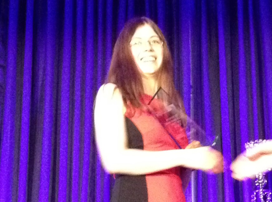 Emily Meko of Eat What's Good accepted two awards at the 127th Business Excellence Awards Banquet at Club Lentinas in Chatham, March 26, 2015. (Photo by Katy Uher)