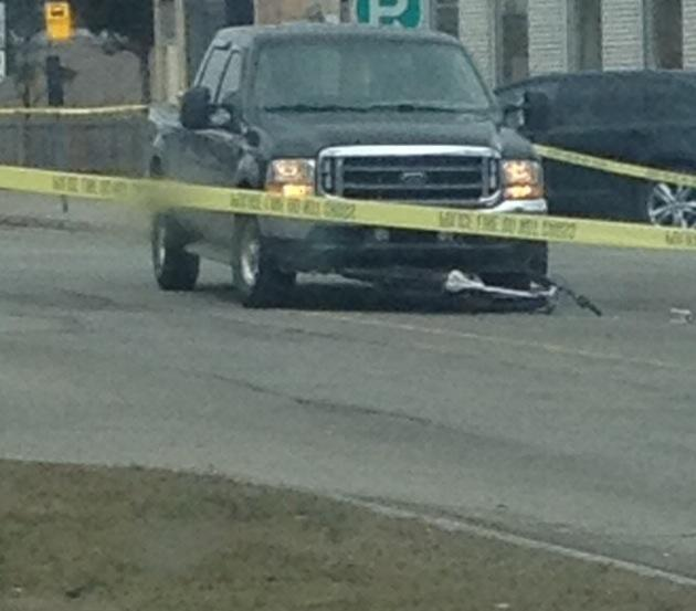 A vehicle and bicycle collide at Wellington, Ontario and Mitton Streets. March 30, 2015 (Photo submitted by Corey Dillon)