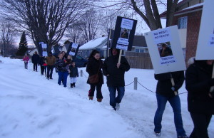 Protesters picket outside an apartment on Taylor Ave in Chatham (Photo taken by Jake Kislinsky).