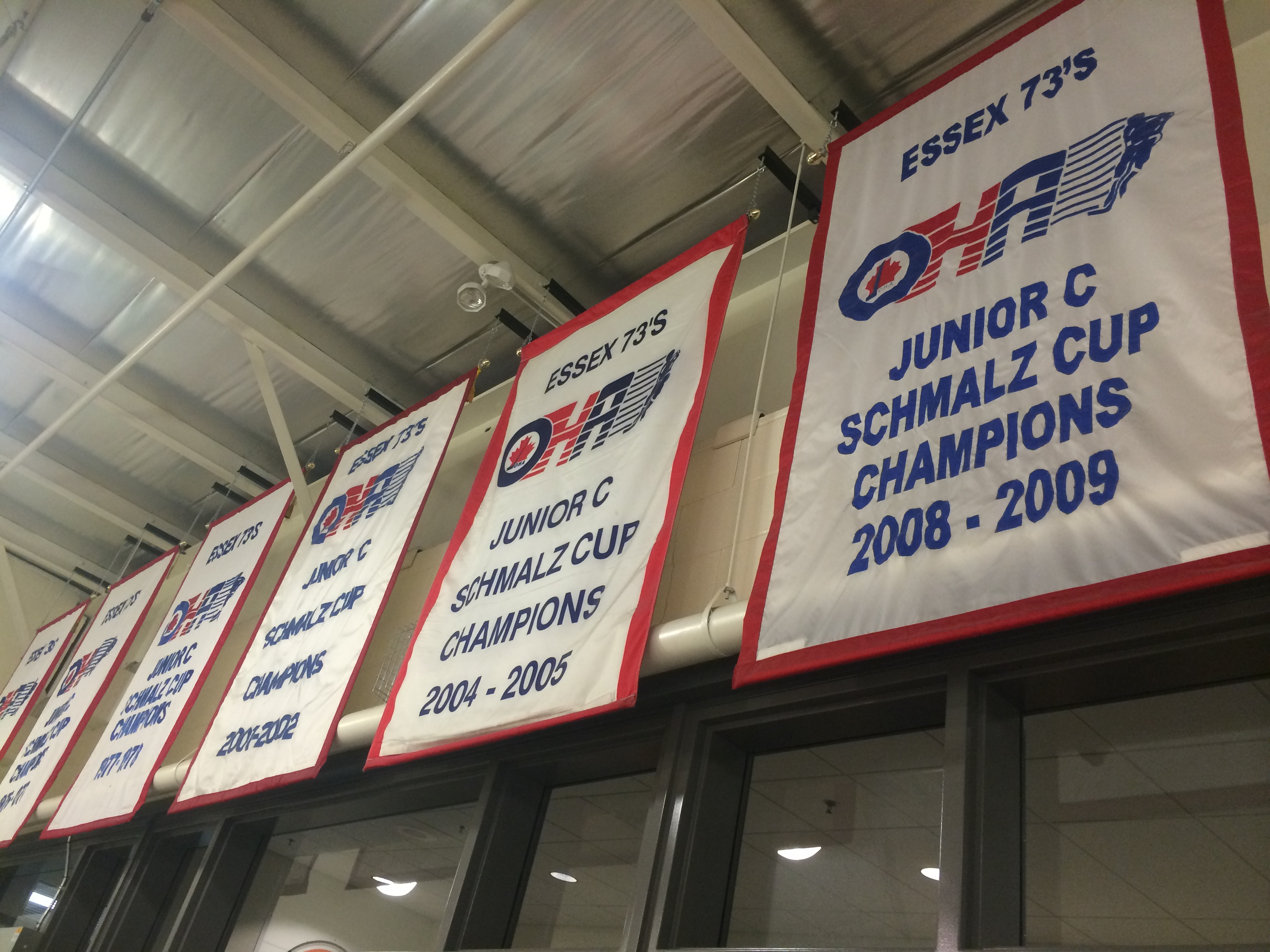 Schmalz Cup banners hanging at the Essex Centre Sports Complex. (Photo by Ricardo Veneza)