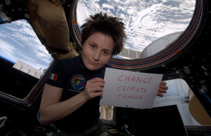 Italian astronaut Samantha Cristoforetty marks Earth Hour while aboard the International Space Station on March 28, 2015. (Photo by Earth Hour courtesy www.earthhour.org)