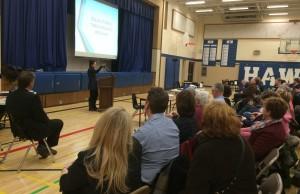 Essex Councill Sherry Bondy speaks to the crowd at Harrow District High School at a public input session on March 2, 2015. (Photo by Ricardo Veneza)