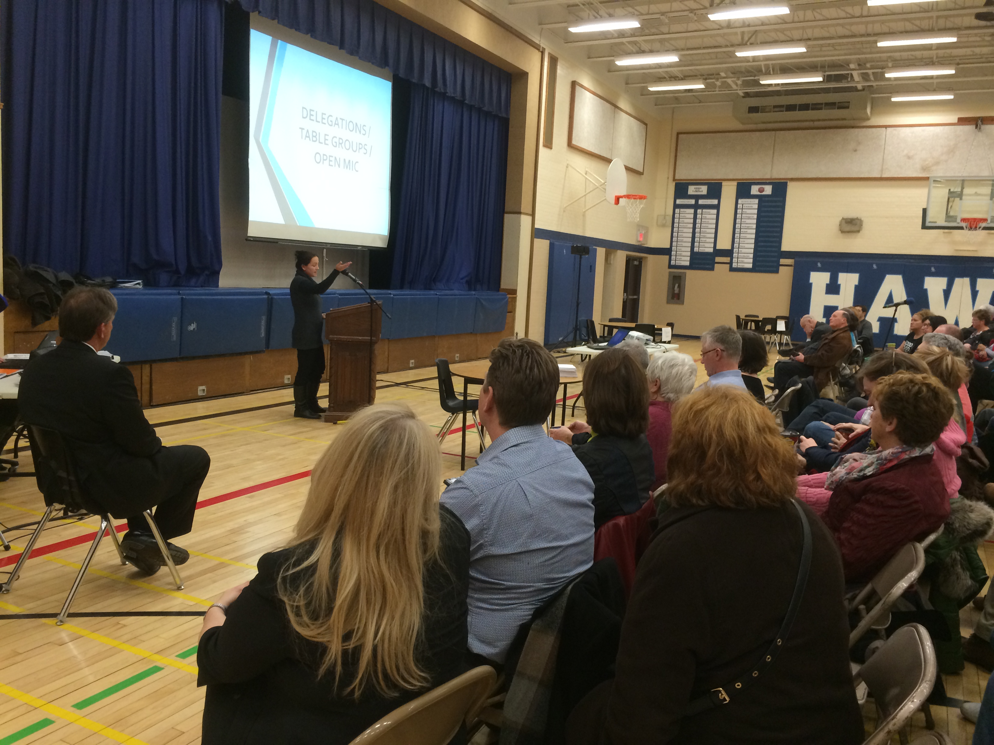 Essex Councillor Sherry Bondy speaks to the crowd at Harrow District High School at a public input session on March 2, 2015. (Photo by Ricardo Veneza)