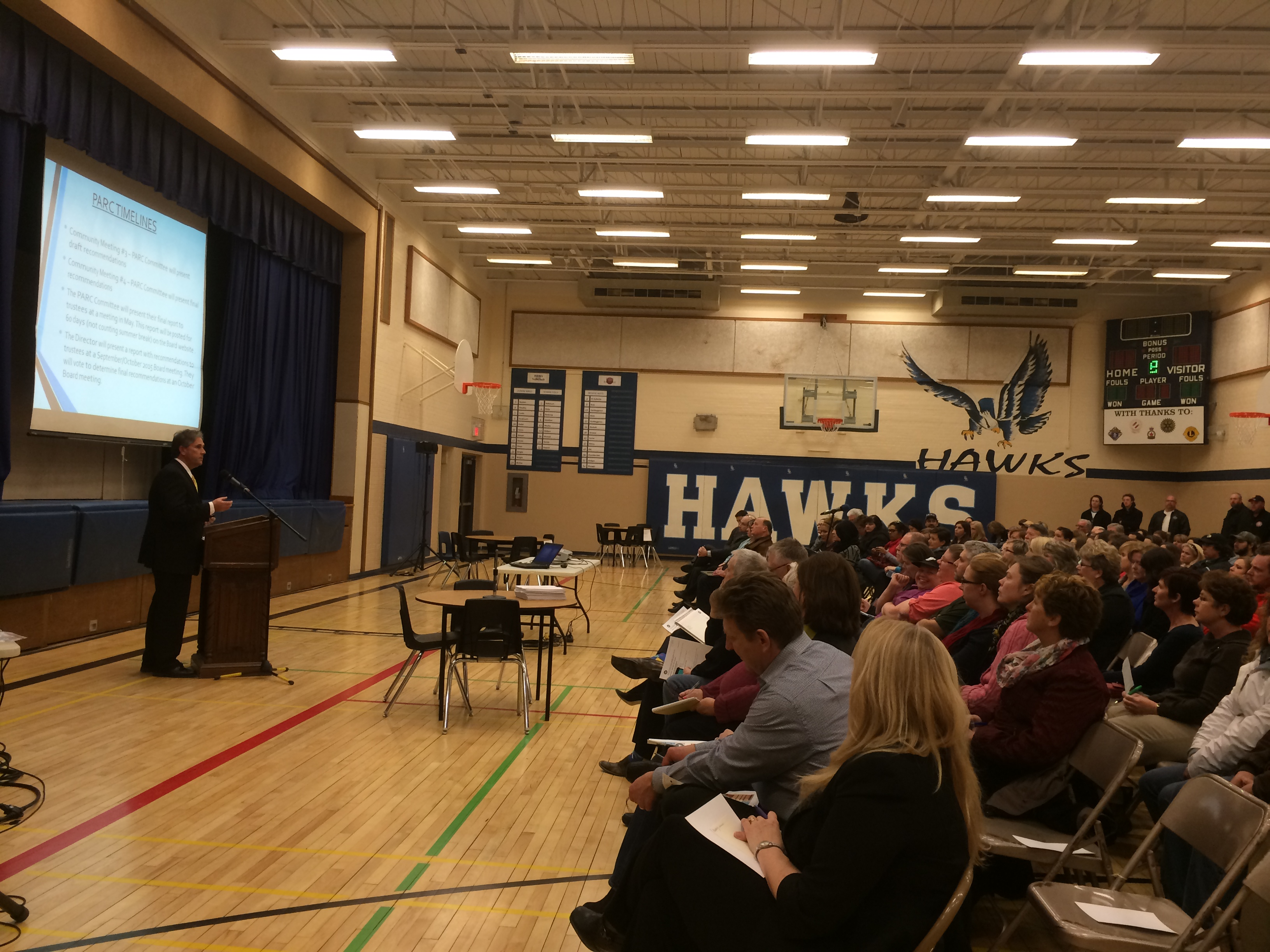 Hundreds attend a GECDSB public input session at Harrow District High School on March 2, 2015. (Photo by Ricardo Veneza)