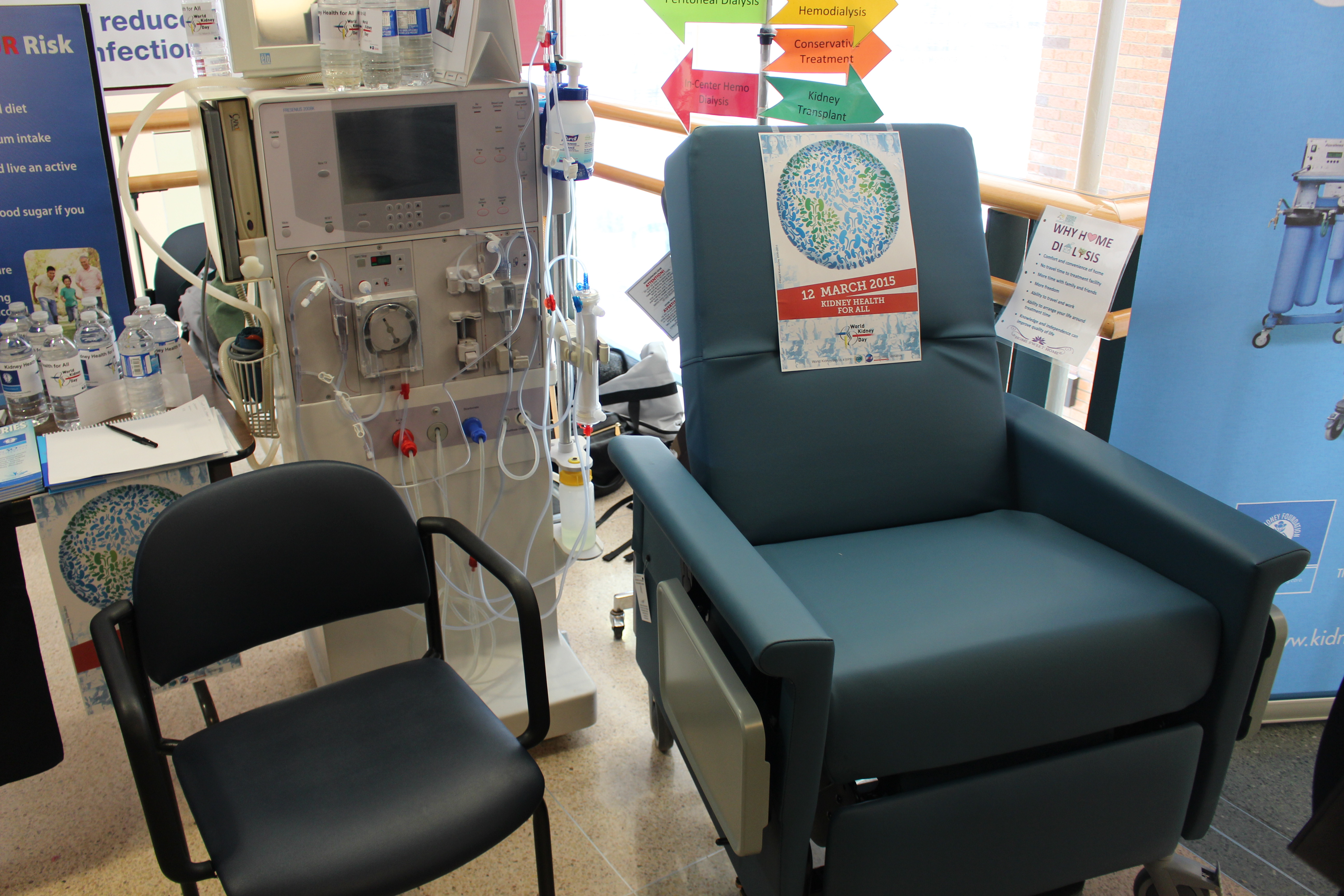 A dialysis chair and machine set up at Windsor Regional Hospital's Ouellette Campus, March 12, 2015. (Photo by Mike Vlasveld)
