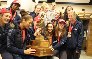 Windsor Lancers women's basketball team arrives at Windsor airport after winning their fifth-straight national championship. (Photo by Jason Viau)
