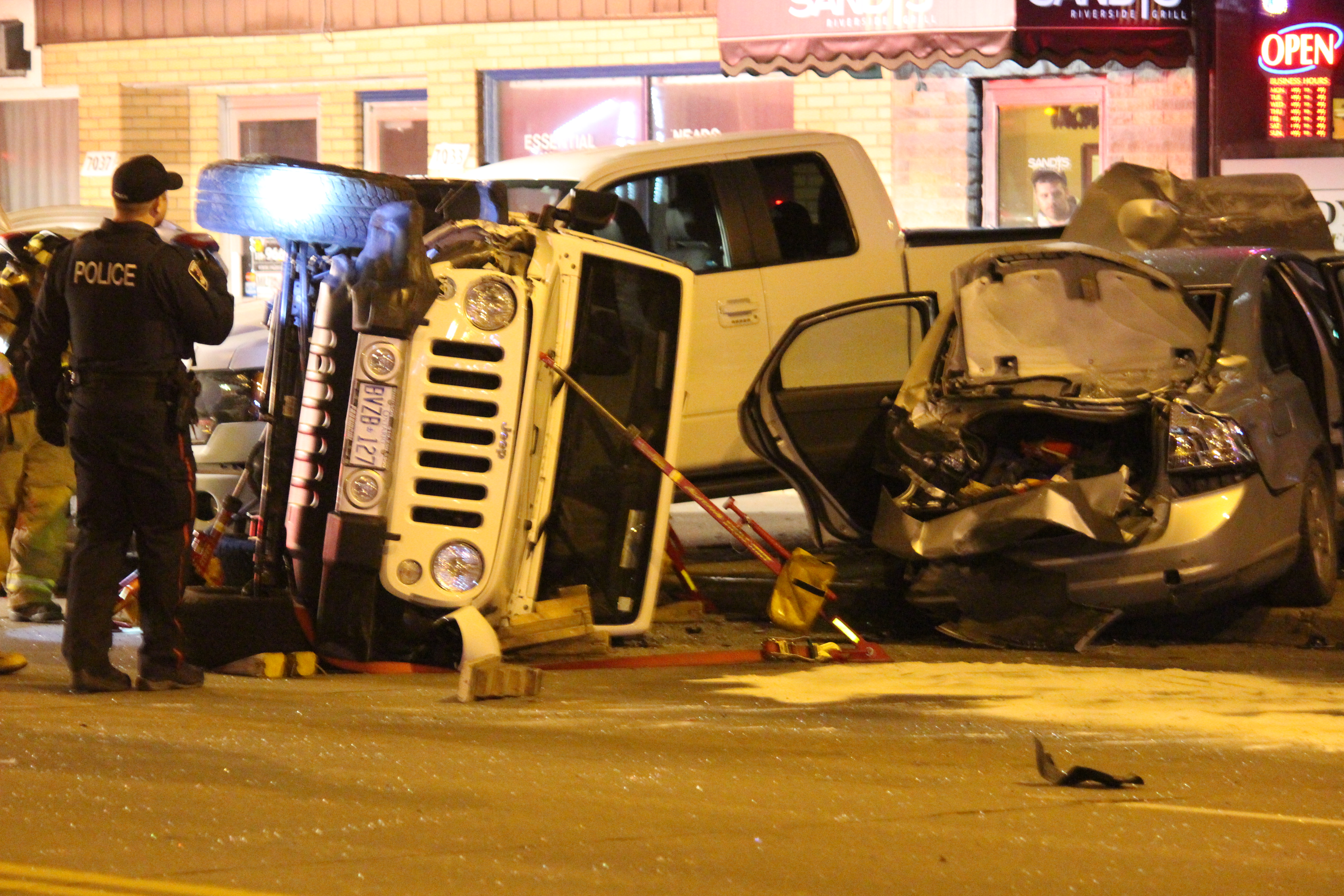 Emergency crews respond to a multi-vehicle crash on Wyandotte St. E at St. Rose Ave., March 31, 2015. (Photo by Jason Viau)