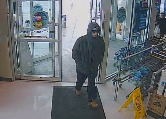 Police are looking for this suspect following a robbery a pharmacy in Woodstock, March 1, 2015. (Photo courtesy of the Woodstock Police Service)