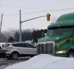 Minor injuries resulted from a car and truck collision just east of Chatham. (Photo by Simon Crouch)