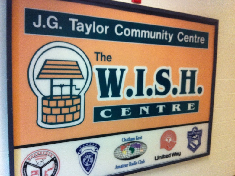 BlackburnNews.com file photo of The WISH Centre sign in Chatham. (Photo by Mike James)
