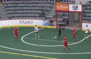 Anthony Santilli for Team Canada scores against Russia at the World Cup Arena Soccer Championships on March 25, 2015. (Still frame from video courtesy of Go Live Sports Cast)