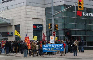 Protesters demonstrate against Bill C-51 in Windsor. (Photo by Adelle Loiselle.)