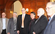 (from left to right) Tecumseh Mayor Gary McNamara, Lakeshore Mayor Tom Bain, Windsor Mayor Drew Dilkens, Amherstburg Mayor Aldo DiCarlo, Leamington Mayor John Paterson and LaSalle Mayor Ken Antaya March 10, 2015. (Photo by Adelle Loiselle)
