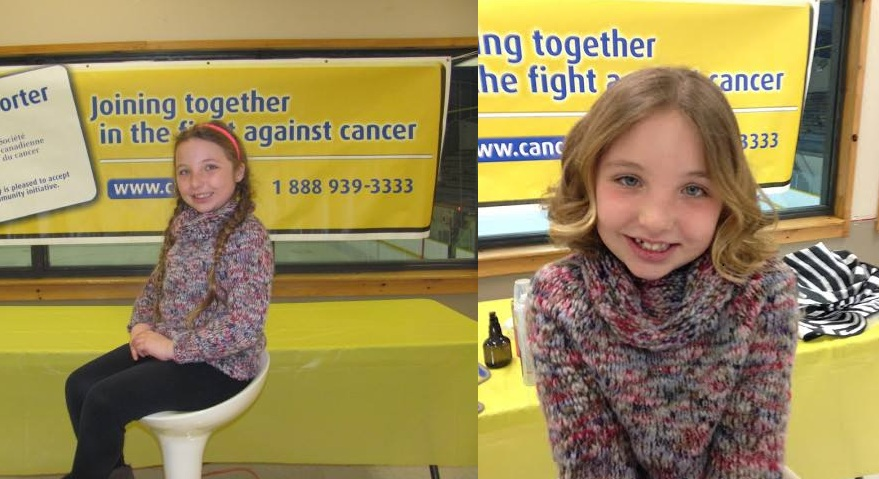 Hunter Escott before and after her haircut. (Photo courtesy of the Canadian Cancer Society, Chatham-Kent Office)