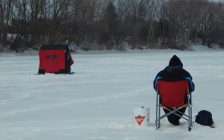 Ice fishing on the Thames River near Prairie Siding Rd. March 7, 2014. (Photo by Simon Crouch)