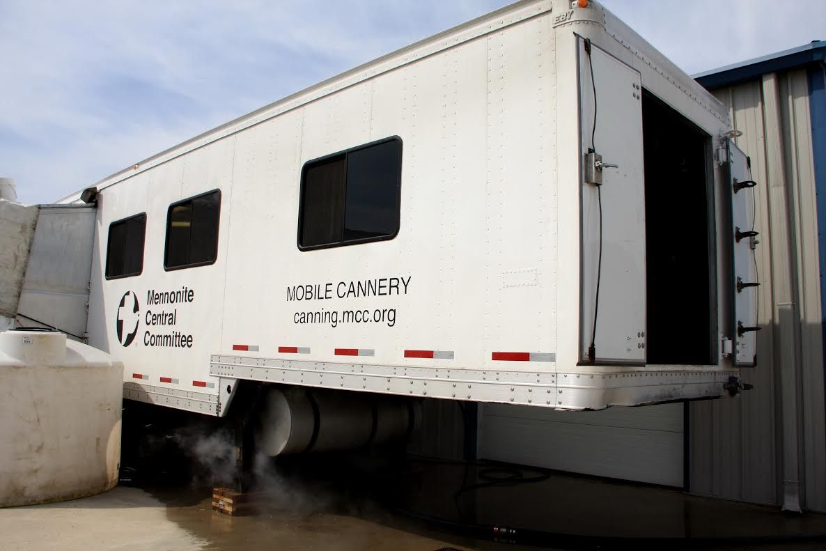 Photo of the Mennonite Central Committee's mobile canner courtesy of the MCC.
