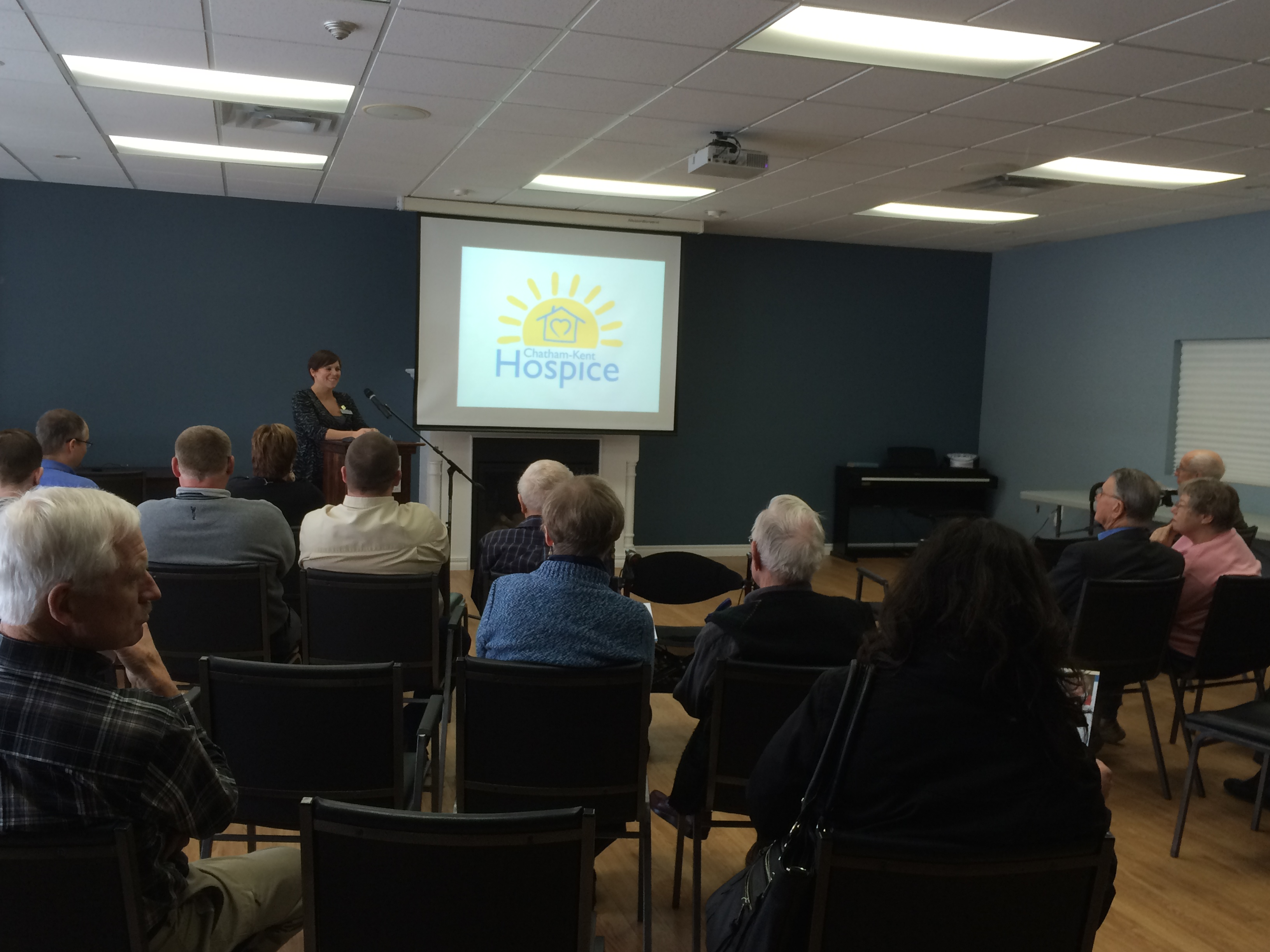 Jessica Smith, executive director of the Chatham-Kent Hospice, speaks at a March 6, 2015 information meeting at St. Andrew's Residence and Terrace in Chatham. (Photo by Ricardo Veneza)