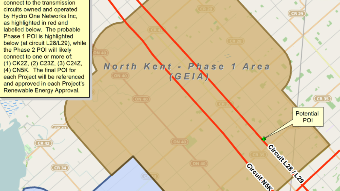 A map outlining Phase 1 of the proposed North Kent Wind Project. (Photo courtesy the Municipality of Chatham-Kent)