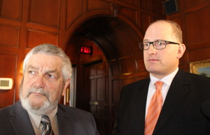 Essex County Warden Tom Bain and Windsor Mayor Drew Dilkens March 10, 2015. (Photo by Adelle Loiselle)