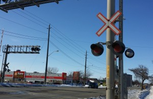 A railway crossing on Keil Dr S in Chatham (Photo by Jake Kislinsky)