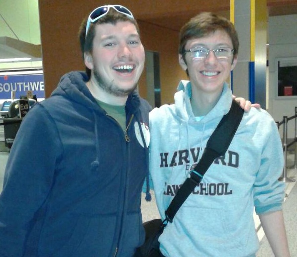 Christian Wilcox & Ian Virtue at the airport in Detroit before leaving for Nepal. (Photo courtesy of Tammy Wilcox)