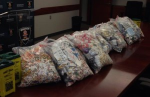 Crime Stoppers collected 300 lbs of narcotics during the Take Back Your Drugs Day, April 11, 2015. (Photo courtesy Crime Stoppers)