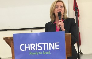 Christine Elliott addresses the crowd at a meet-and-greet event in Clifford on Saturday, April 18th, 2015. Photo by Marty Thompson