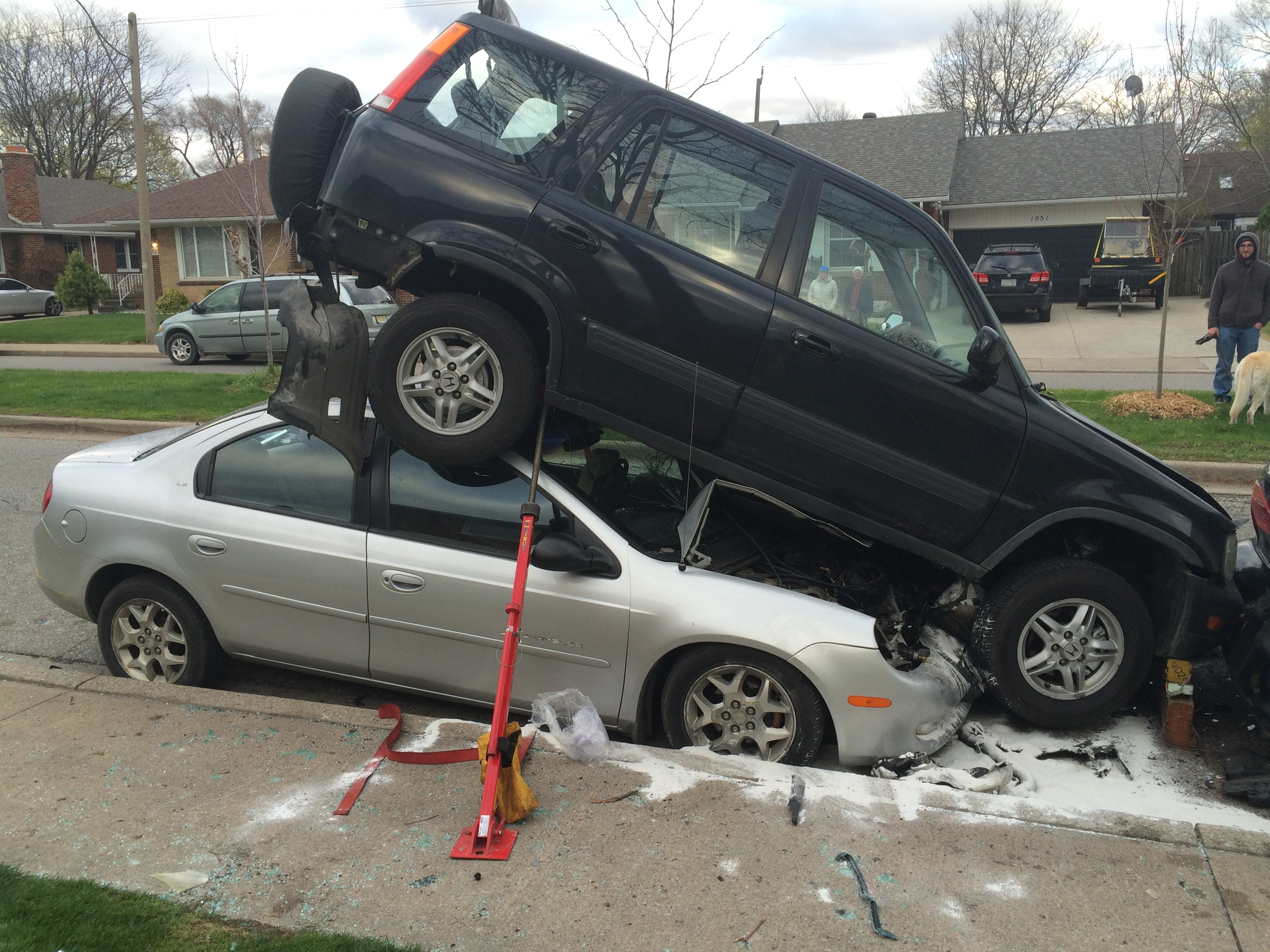 Windsor police investigate a crash in the 1900 block of Ypres Ave., April 23, 2015. (Photo by Jason Viau)