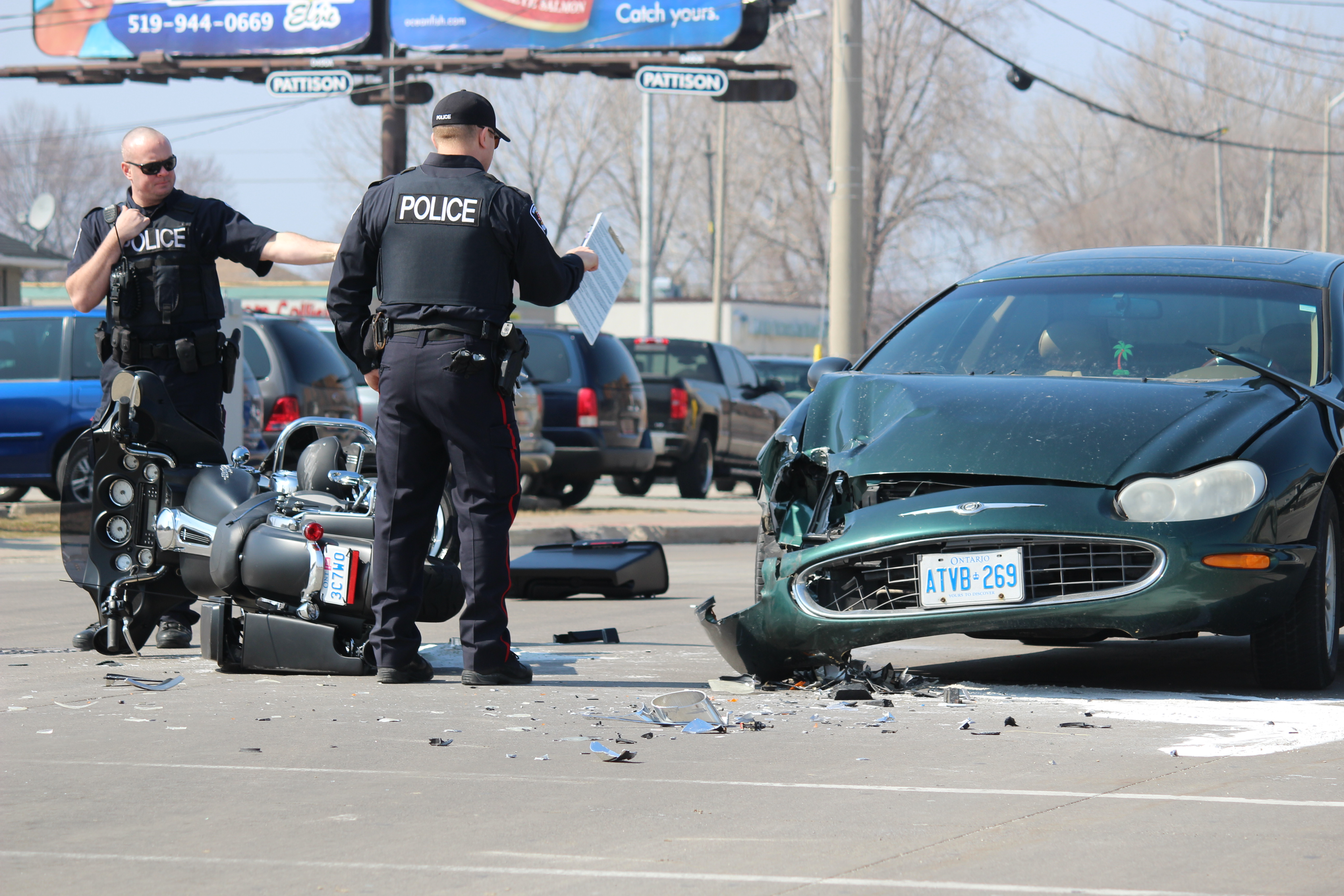 One person has been sent to hospital following a crash at the intersection of Lauzon Rd. and McHugh St., April 1, 2015. (Photo by Jason Viau)