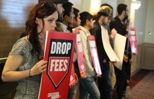 Students protest the University of Windsor's decision to increase tuition fees, April 28, 2015. (Photo by Jason Viau)