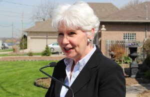 Windsor Ward 5 Councillor Jo-Anne Gignac speaks to the media outside of her home on St. Rose Ave., April 29, 2015. (Photo by Mike Vlasveld)