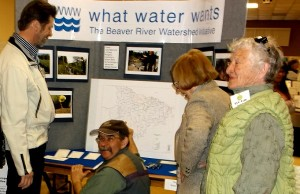 One of the 33 exhibitors at the Re-Use and Eco Fair in Meaford was the Beaver Valley Watershed Trust. Photo by Jim Armstrong
