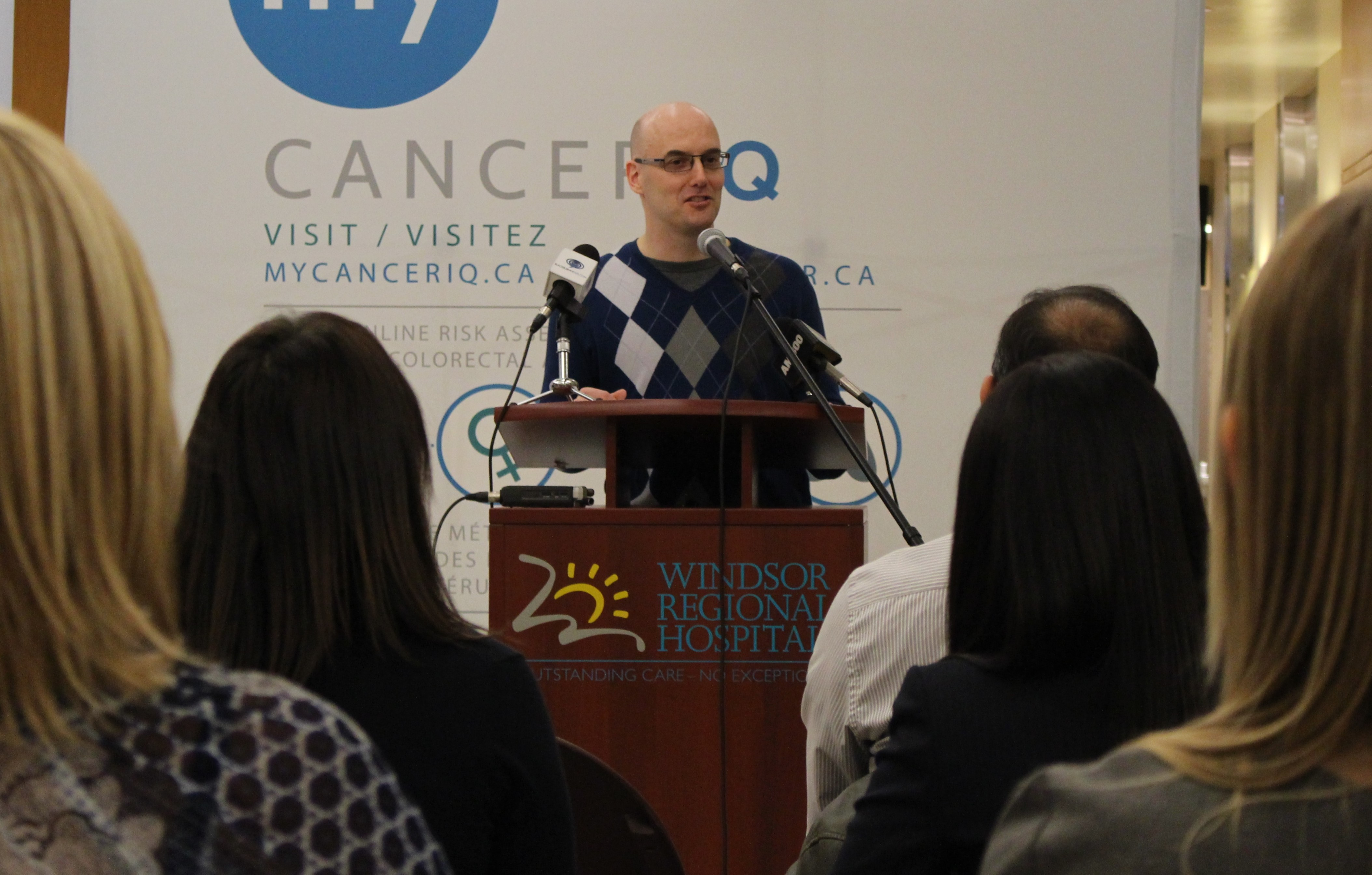 Regional Primary Care Lead with Cancer Care Ontario Dr. John Day talks about the My CancerIQ website and app at Windsor Regional Hospital, April 1, 2015. (Photo by Mike Vlasveld)