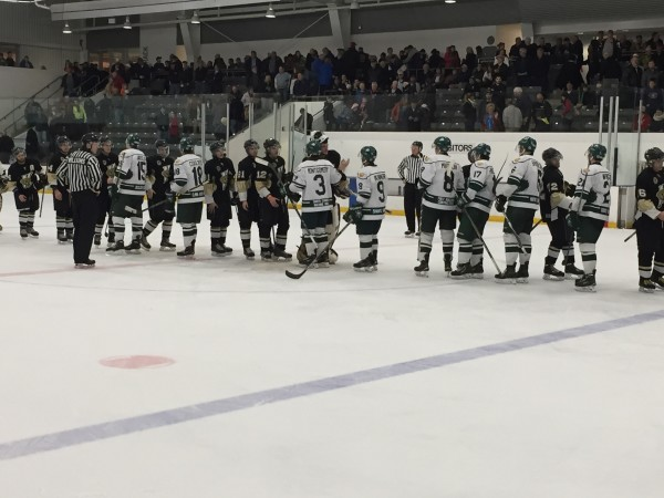 The Elmira Sugar Kings and LaSalle Vipers shake hands after Lasalle beat Elmira in game 7 of the Sutherland Cup semis at Dan Snyder Memorial Arena.