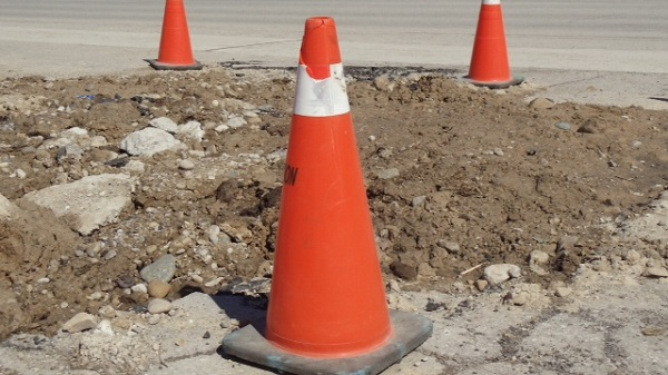 Road work with orange pylons. Photo courtesy of Blackburn News