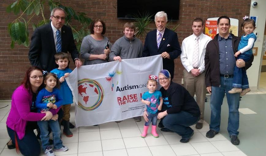 A flag raising takes place at the Chatham-Kent Civic Centre. April 2, 2015. (Photo by Matt Weverink)